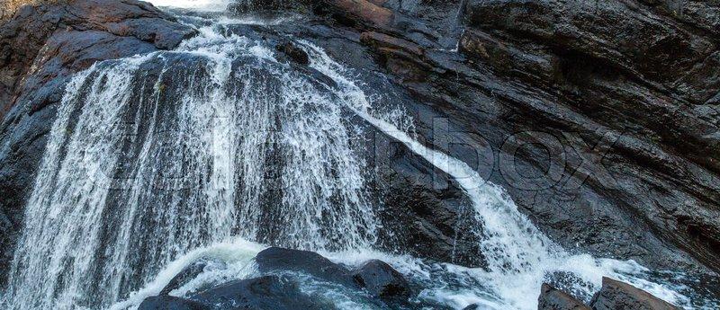Baker's Fall Waterfall mountain Panorama landscape Horton Plains National Park Sri Lanka, stock photo