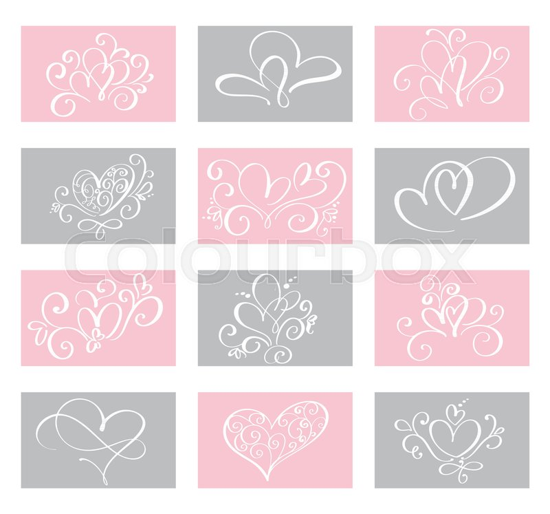 Set Love Vector Valentines Day Cards Templates Hand Drawn February