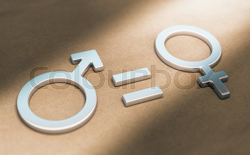 3d Illustration Of Male And Female Symbols With Equal Sign Over