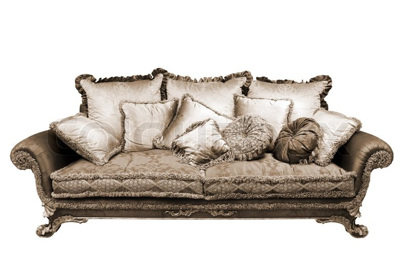 Marvelous Beautiful Sofa With Cushions On A White Background