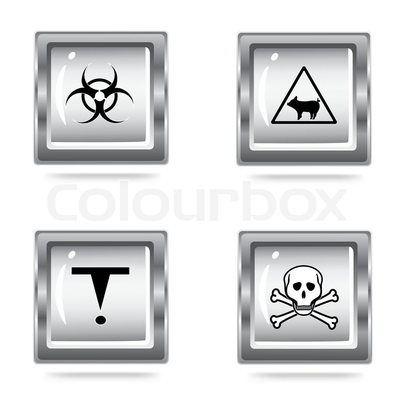 Vector Illustration Of The Set Icons Of The Hazard Symbols Stock