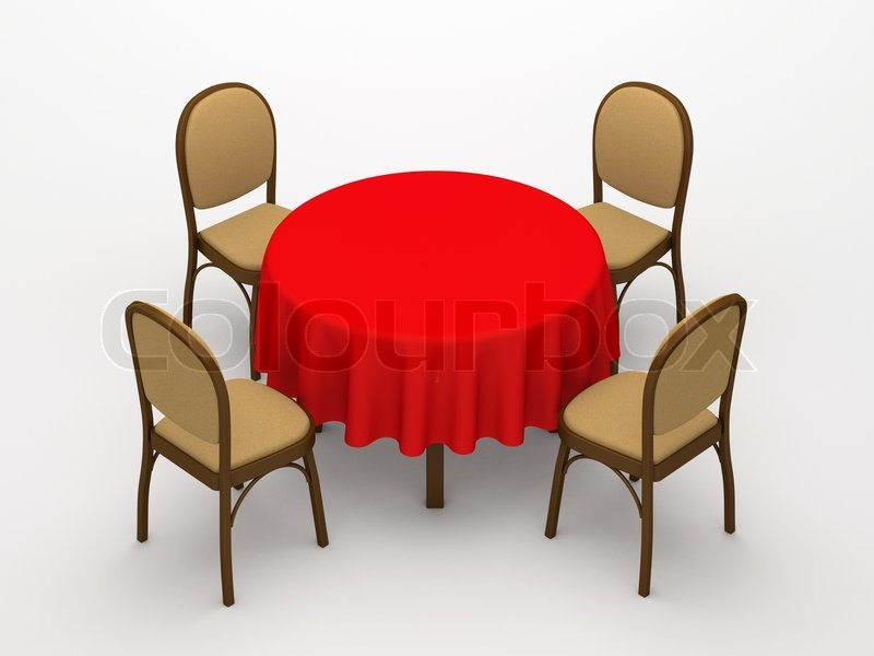 Empty Round Table Red Cloth And Four Chairs On A White