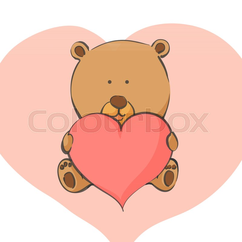 valentine postcard bear with heart in hand stock vector colourbox