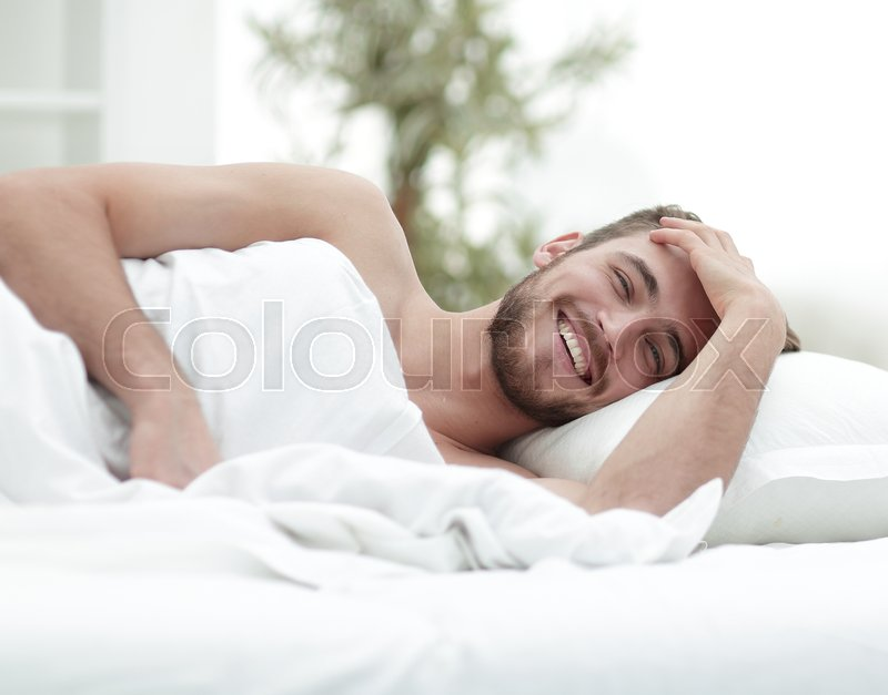 Business man resting in a comfortable hotel room.photo with copy space, stock photo