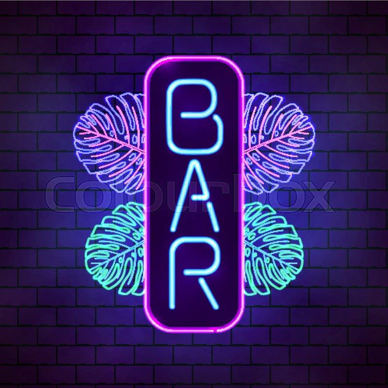 Bright neon tropical bar sign. Board | Stock vector