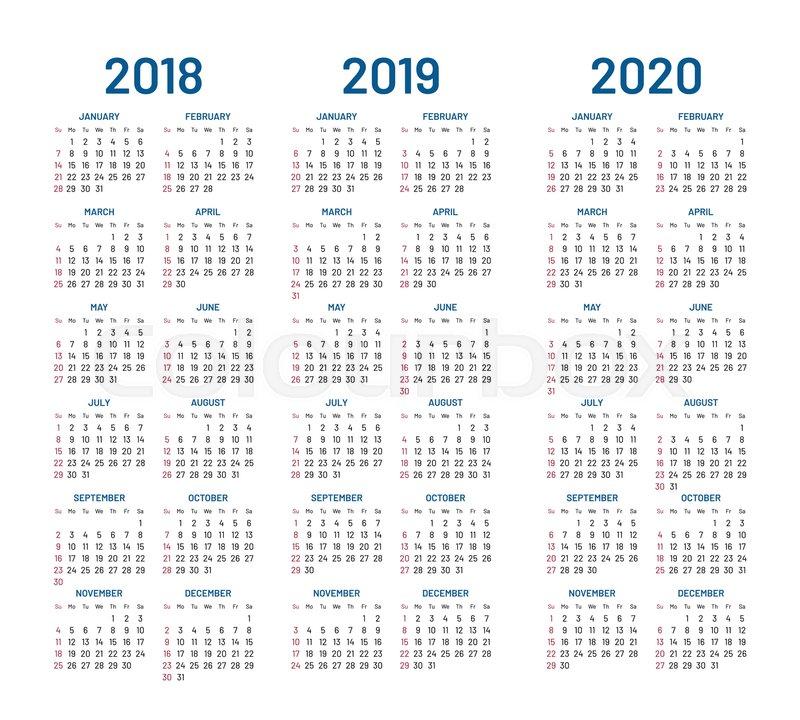 Modern 2019 2020 Mid Year Diary: Year 2018 2019 2020 Calendar Vector ...