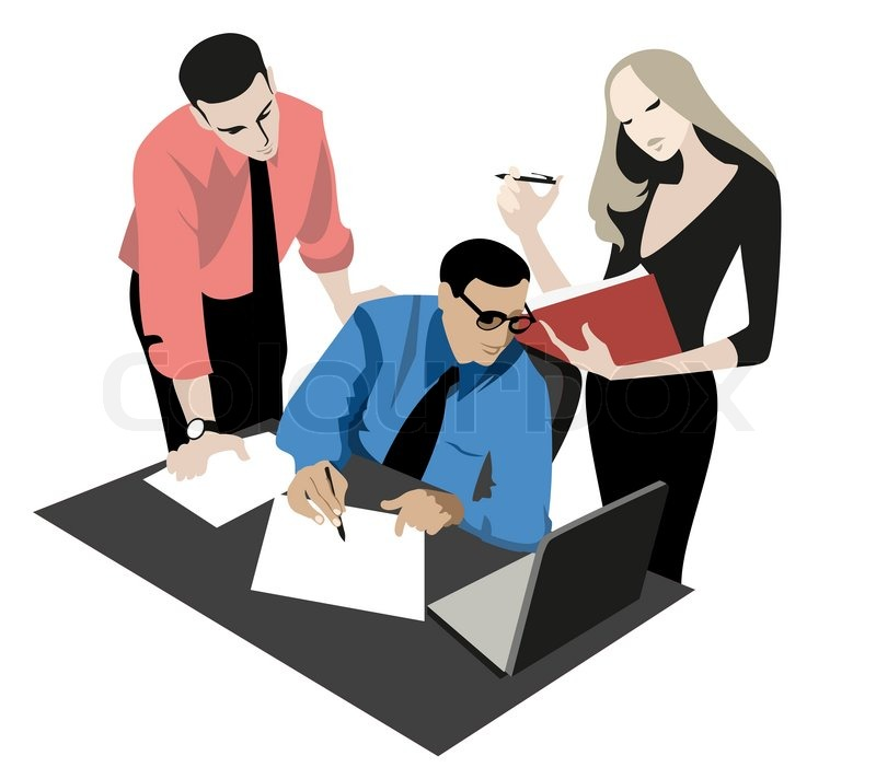 Stock vector of younger colleagues to discuss the project with a top