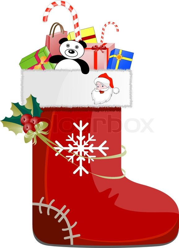 Christmas Shoe.Detailed Christmas Shoe With Gifts Stock Vector