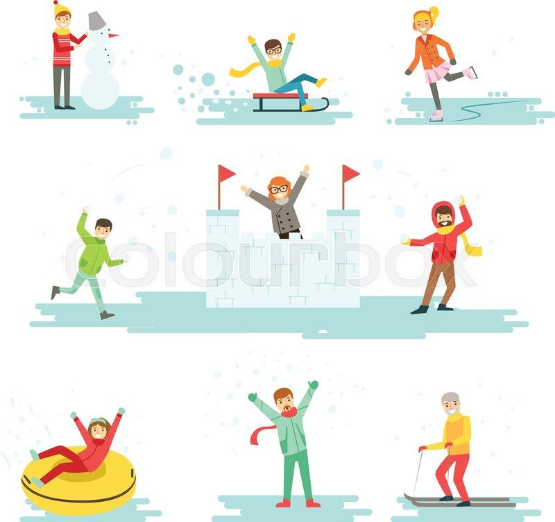 b1532cc2a People Having Fun In Snow In Winter ...