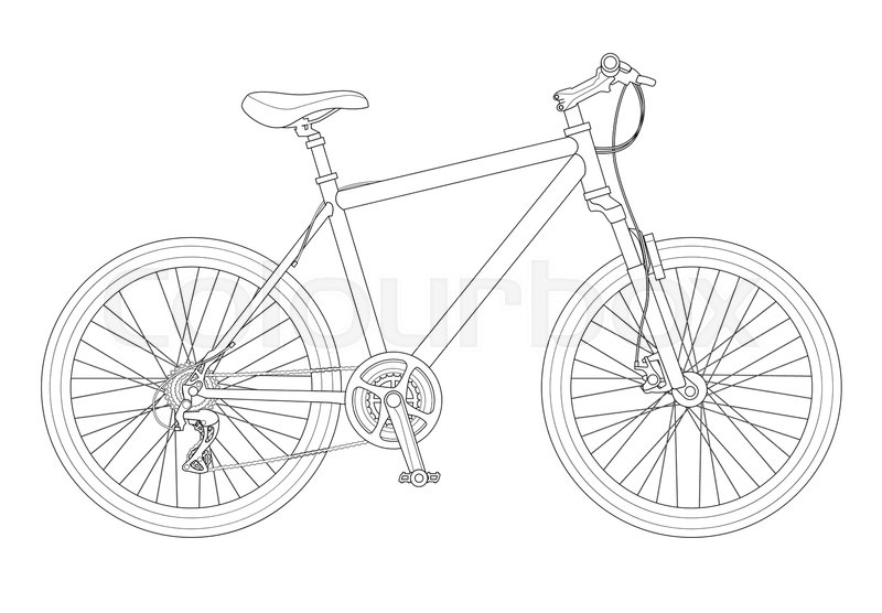 Outline bicycle outline isolated on white background. Mountain bike ...