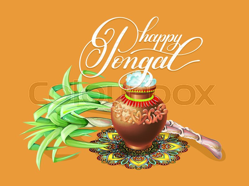 Happy pongal greeting card to south indian winter holiday design happy pongal greeting card to south indian winter holiday design vector illustration stock vector colourbox m4hsunfo