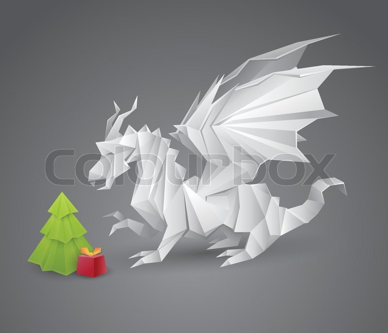 weihnachten neujahr illustration mit origami drachen und. Black Bedroom Furniture Sets. Home Design Ideas