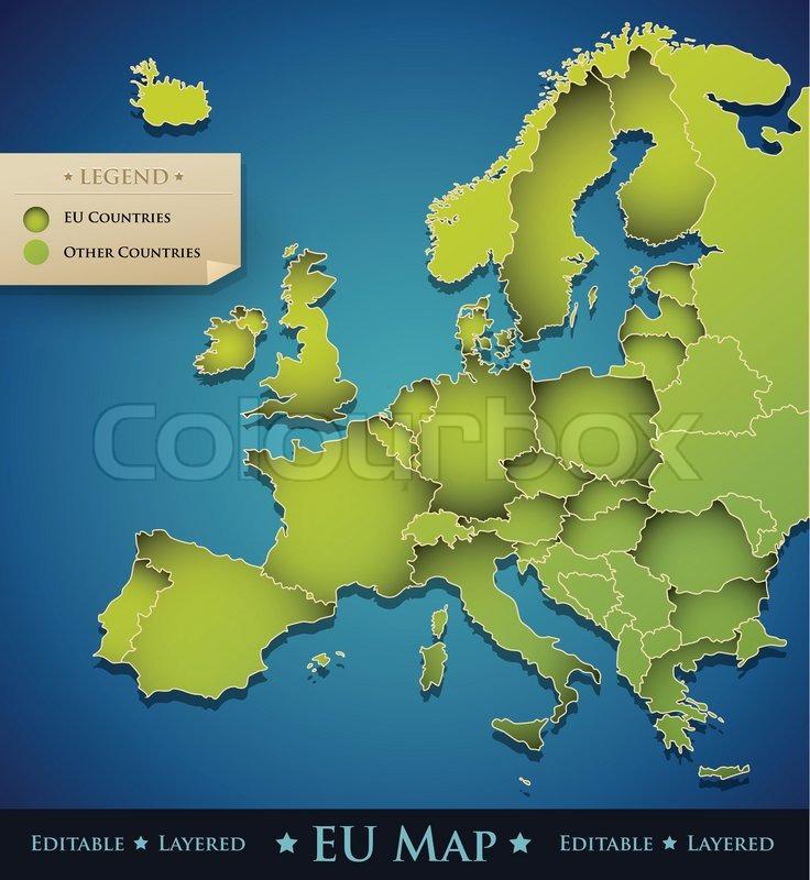 European Union EU map countries | Stock Vector | Colourbox