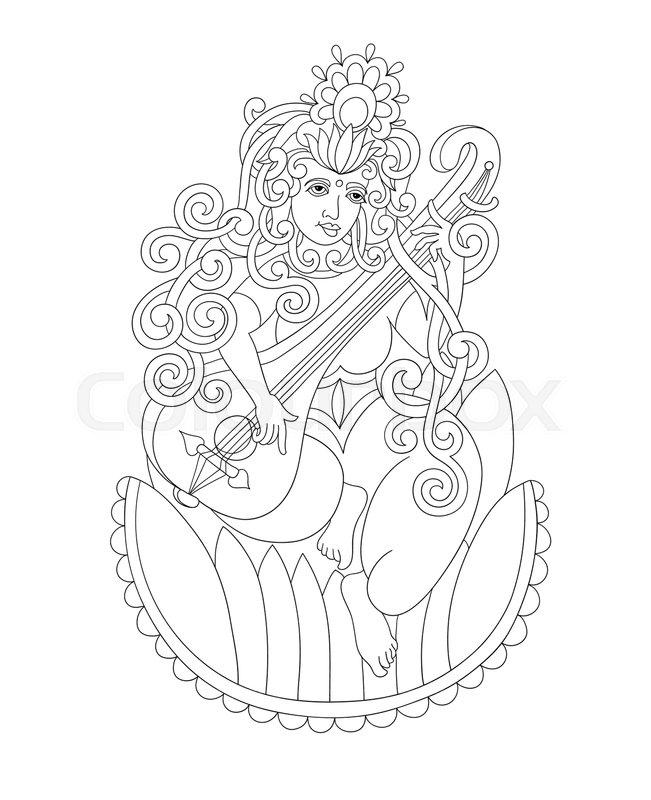 Black And White Drawing Of Indian Hindu Goddess Saraswati Symbol Of