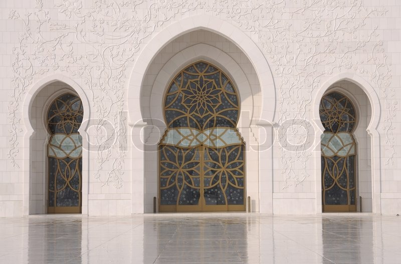 Doors of the sheikh zayed mosque in abu dhabi uae stock for Door design uae