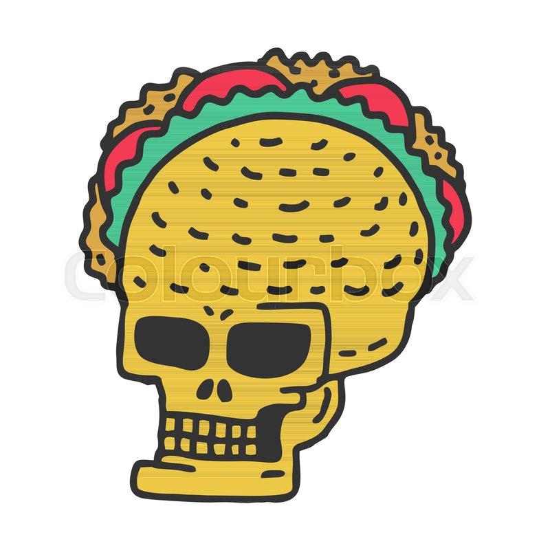 Skull taco drawning. Mexican Skeleton Head with Tacos Cartoon Style ...