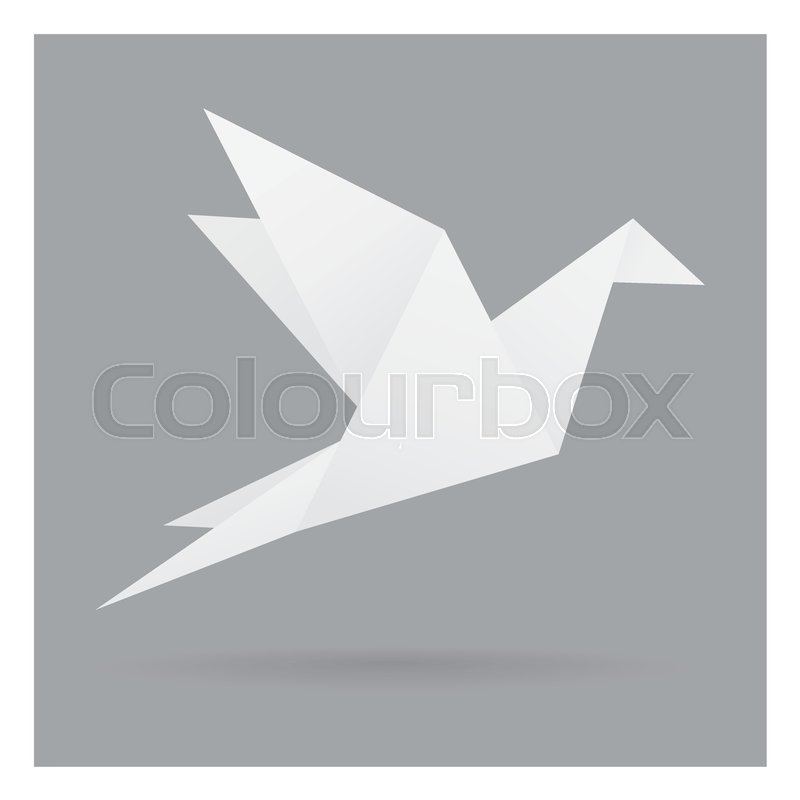 White bird paper craft flying in frame art isolated on gray black  background   Stock Vector   Colourbox