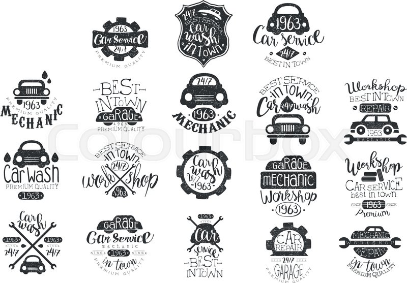 Collection Of Vintage Car Emblems With Hand Lettering Stylish
