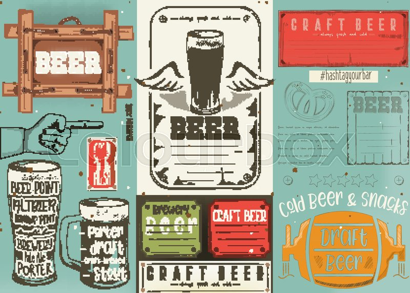 Beer Drawn Menu Design Craft Beer Stock Vector Colourbox