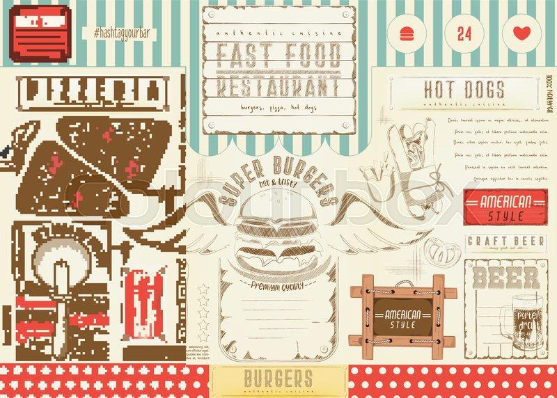 Fast Food Drawn Menu Design Burger Stock Vector Colourbox