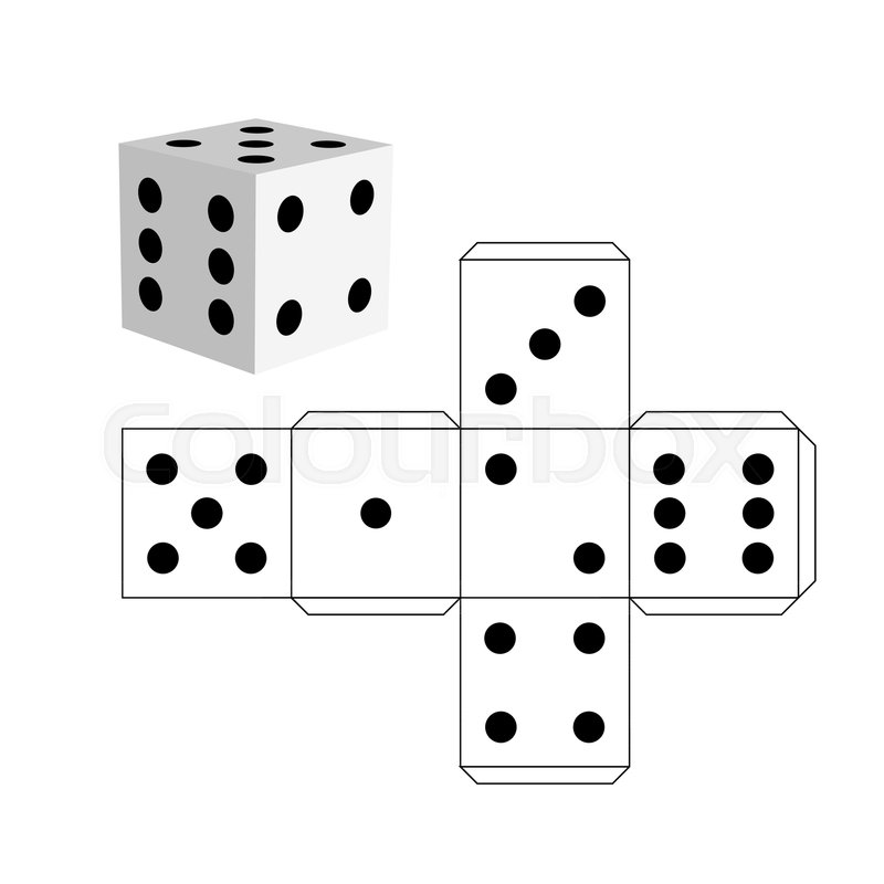 Dice template - model of a white cube to make a three-dimensional ...