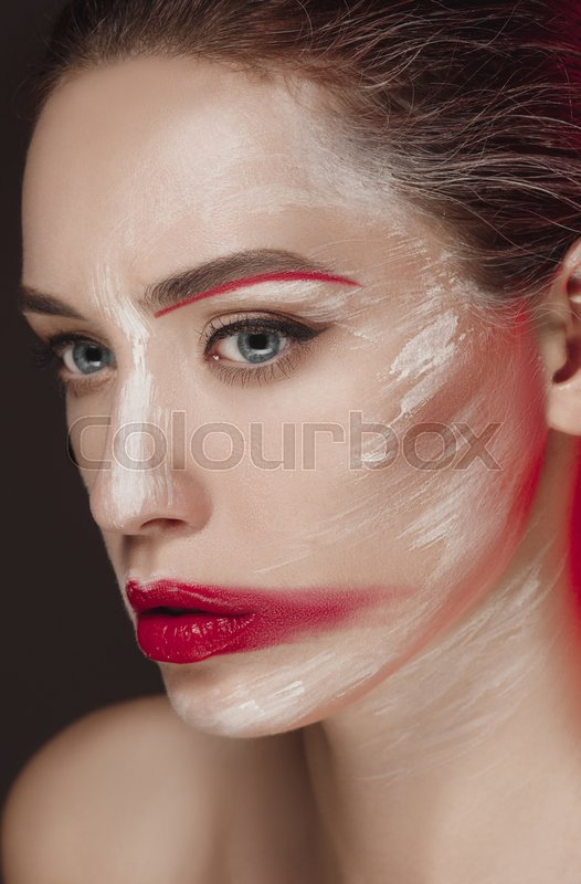 Fashion Model Girl With Colored Face Stock Image