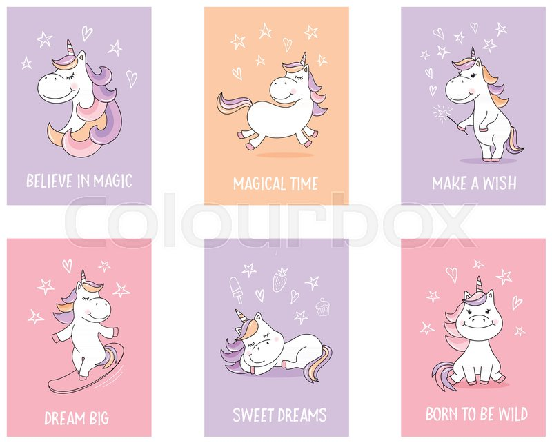 Unicorn Quotes Cute unicorn greeting cards with  | Stock Vector | Colourbox Unicorn Quotes