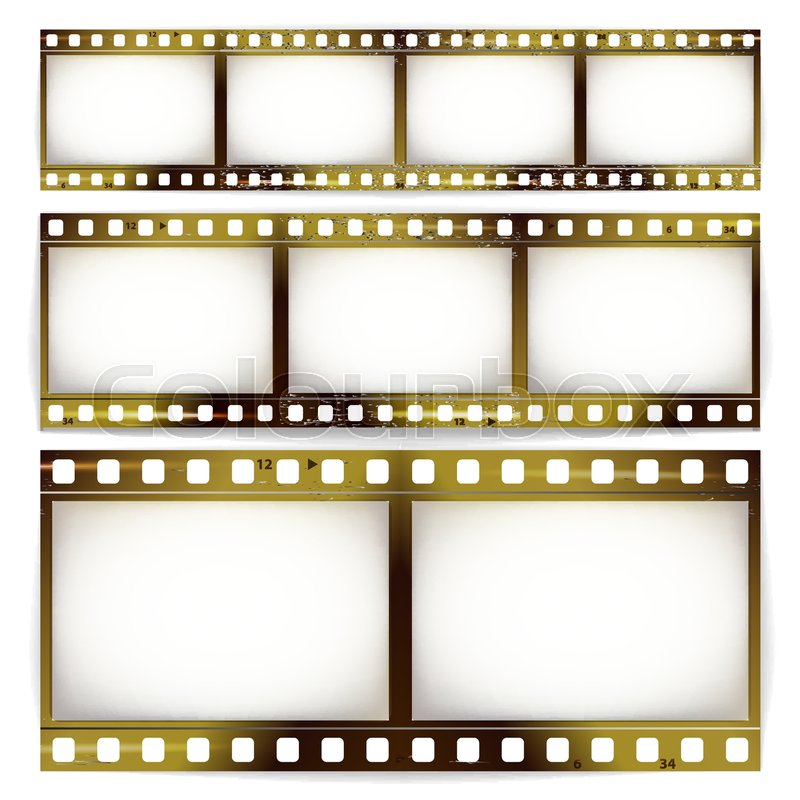 Film Strip Vector Set. Cinema Of Photo Frame Strip Blank Scratched ...