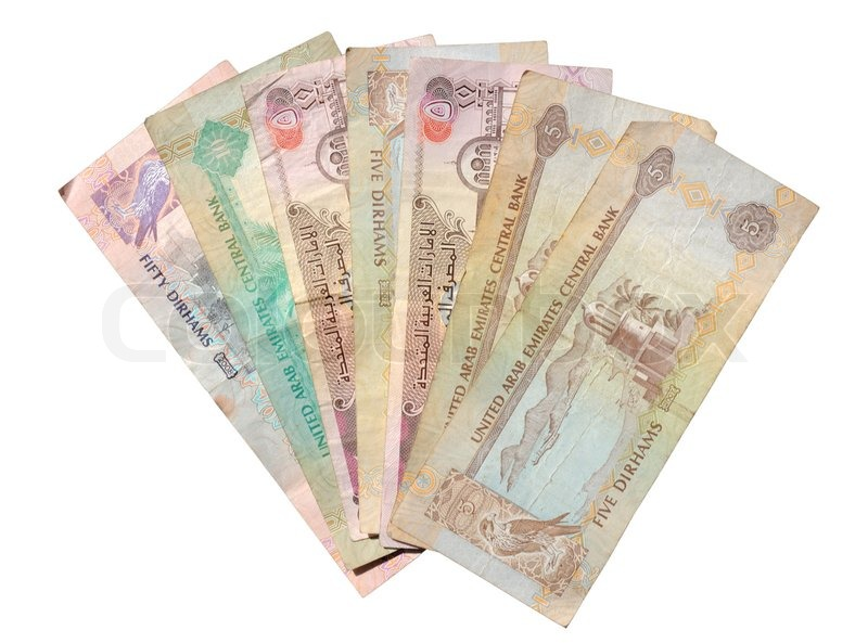 Dirhams Isolated Over White Background Currency From The United Arab