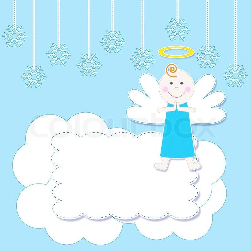 Frame with cute Christmas baby angel | Stock Vector | Colourbox