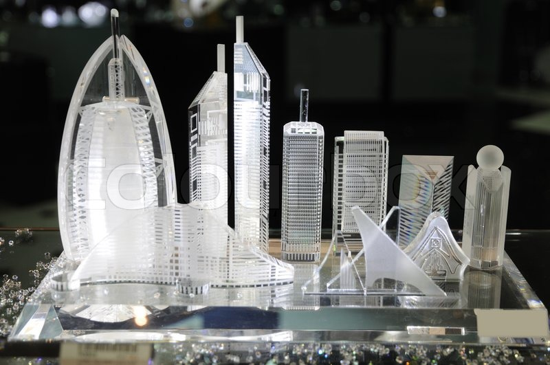 Skyscrapers Of Dubai At Souvenir Shop Stock Photo