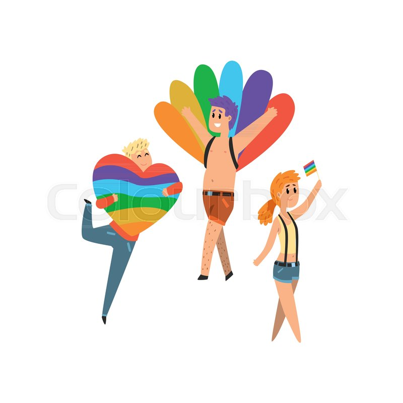 People With Rainbow Flags And Symbols Lgbt Community Celebrating