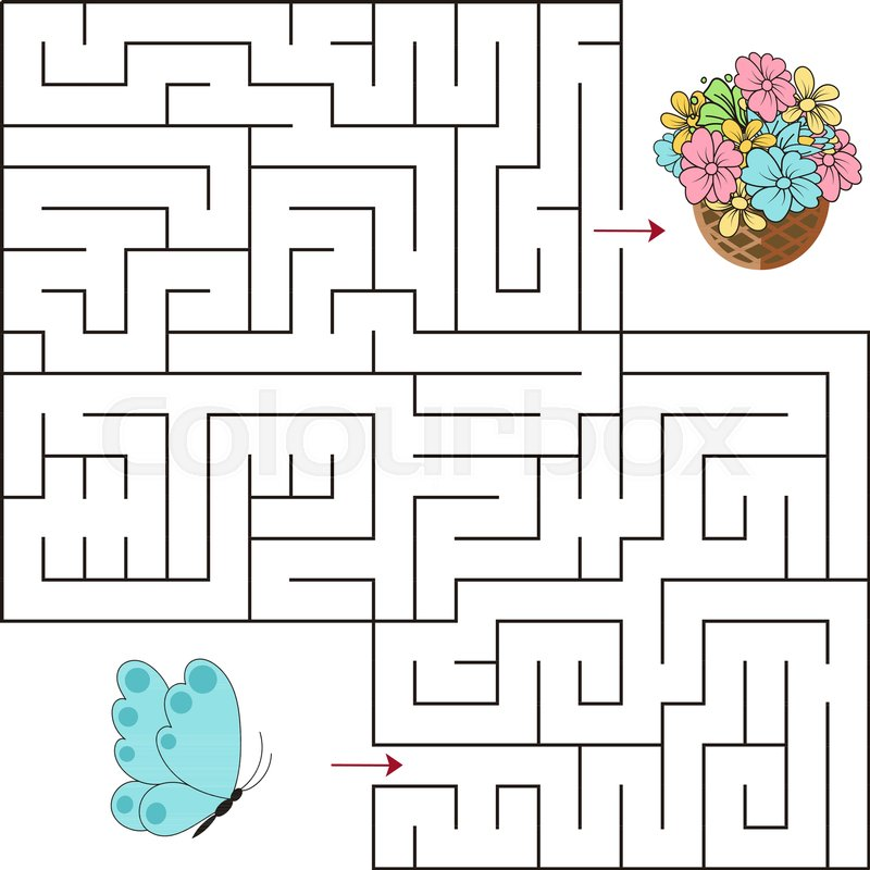 Educational a mathematical game.Maze game for kids. Vector template ...