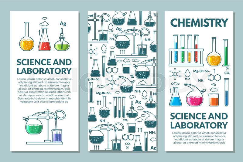 Science information cards set. laboratory template of flyer ...