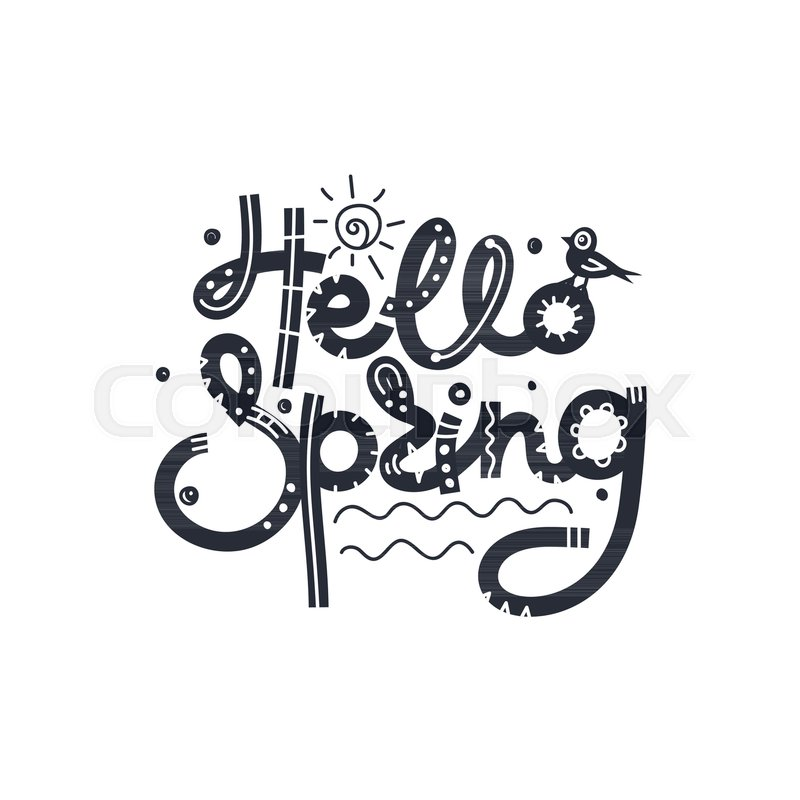 Hello spring cute creative hand drawn lettering freehand style cute creative hand drawn lettering freehand style doodle letters with ornament springtime it can be used for card print on clothes banner poster thecheapjerseys Gallery