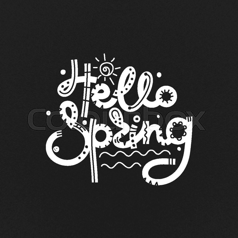 Hello spring cute creative hand drawn lettering freehand style cute creative hand drawn lettering freehand style doodle letters with ornament springtime it can be used for card print on clothes banner poster altavistaventures Image collections