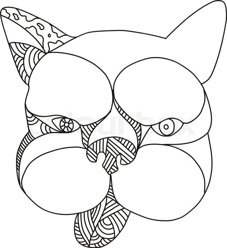 36d95a389788 Doodle art illustration of head of French bulldog or frenchie dog viewed  from front on isolated background done in black and white