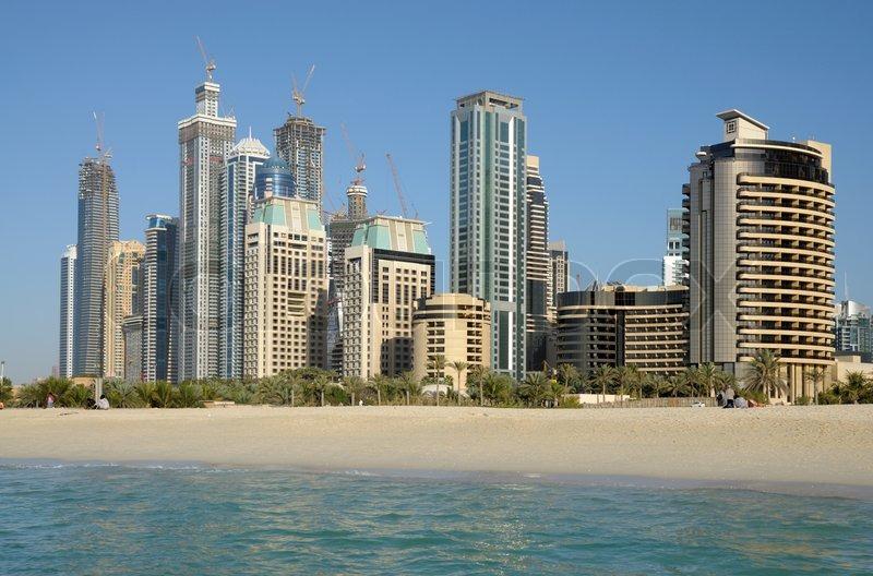 Highrise Buildings at Dubai Marina, United Arab Emirates, stock photo