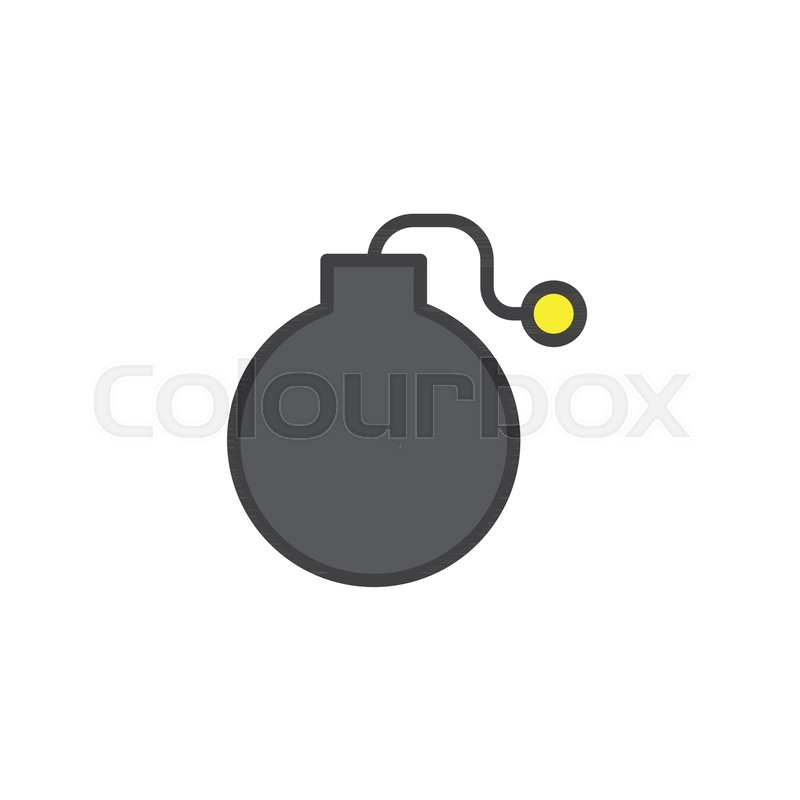 Fuse Bomb filled outline icon, line vector sign, linear colorful ...
