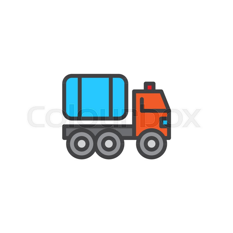 Fire Truck Filled Outline Icon Line Vector Sign Linear Colorful Pictogram Isolated On White Water Carrier Vehicle Symbol Logo Illustration