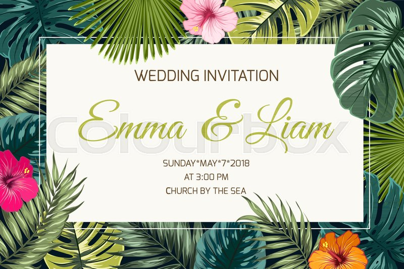 Stock Vector Of Wedding Event Invitation Card Template Exotic Tropical Jungle Rainforest Bright Green