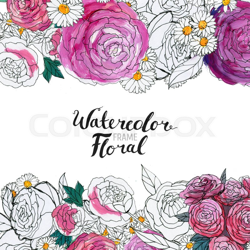 Stock Image Of Watercolor Floral Background Hand Painted Border Flowers Good For