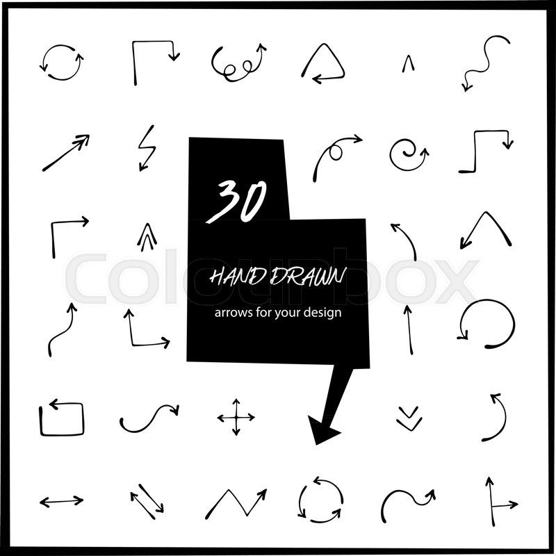 30 Hand Drawn Arrows Vector Art Arrow Icon Isolated Round Curved
