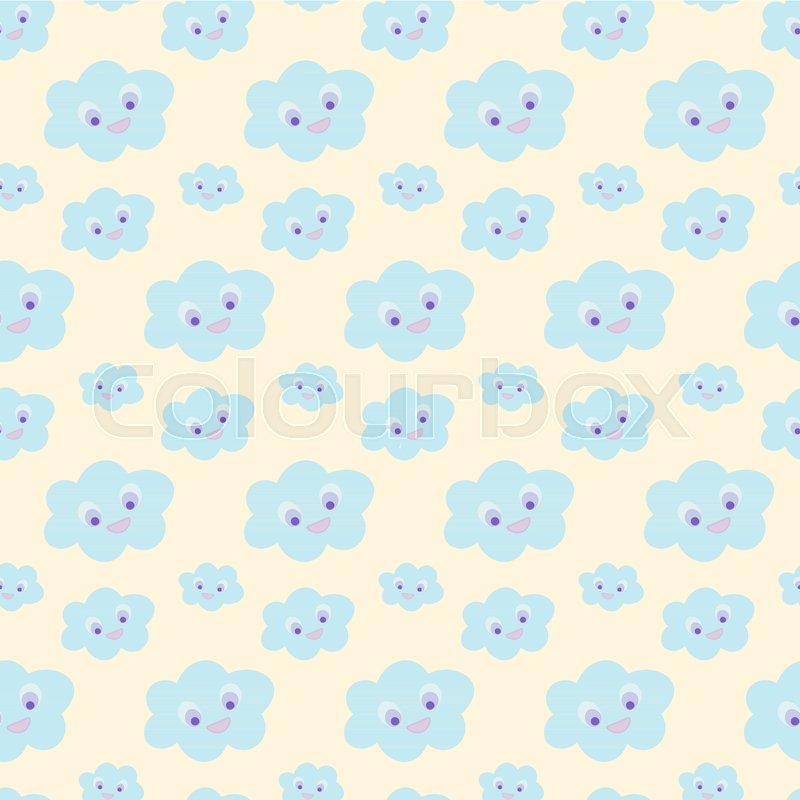 Cloud Wallpaper For Nursery Baby Bedding Pattern Seamless With Cute Blue Smiling Clouds On Yellow Background