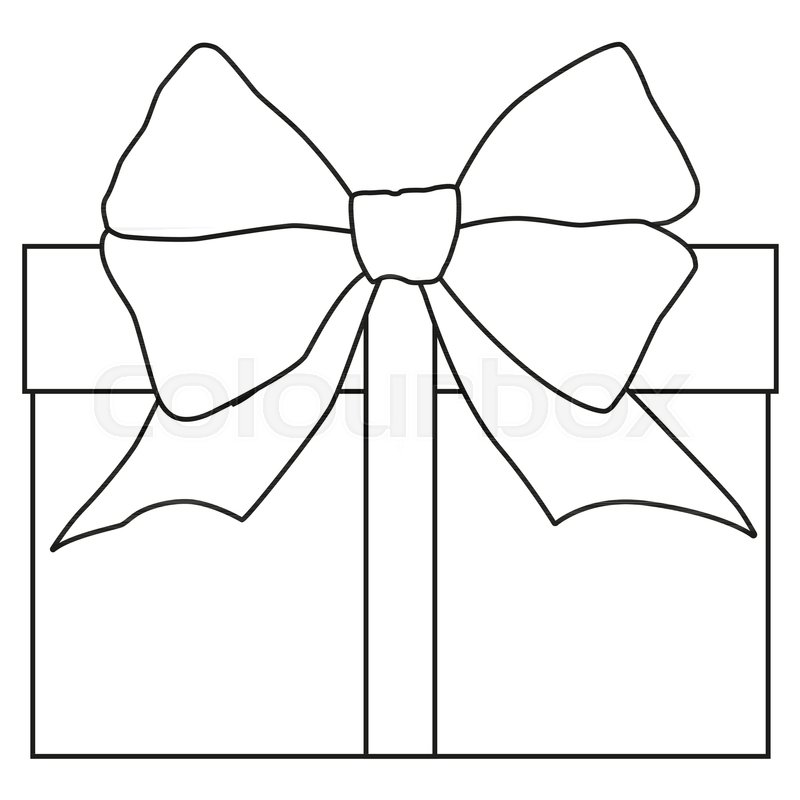Line Art Black And White Gift Box Icon Poster Coloring Book Page