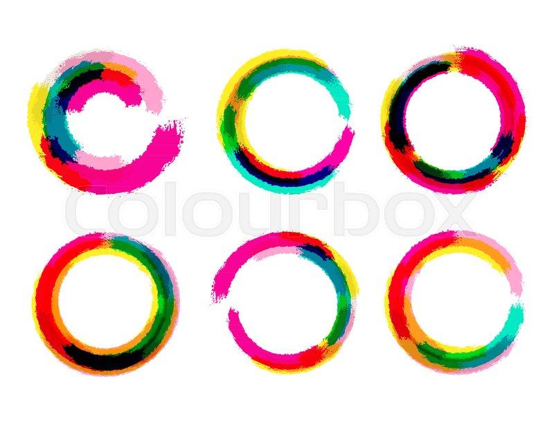 Set of grange circles. Color circle brush. Vector circle brush frame ...