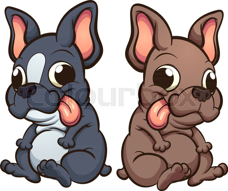 Cartoon French Bulldog Puppies Sitting Vector Clip Art Illustration With