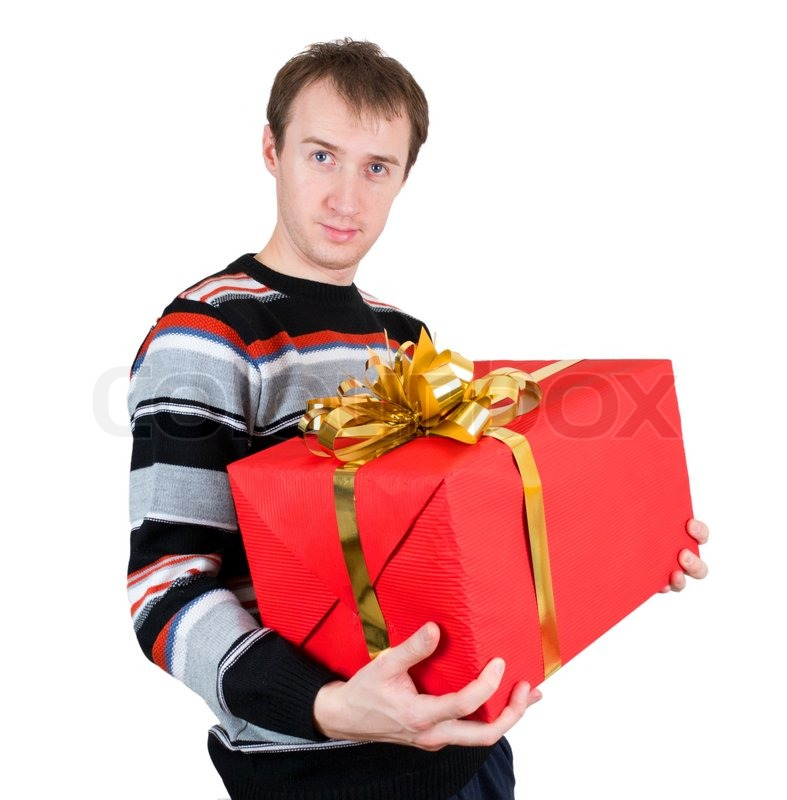 A Man Holding A Big Gift Isolated On White Background