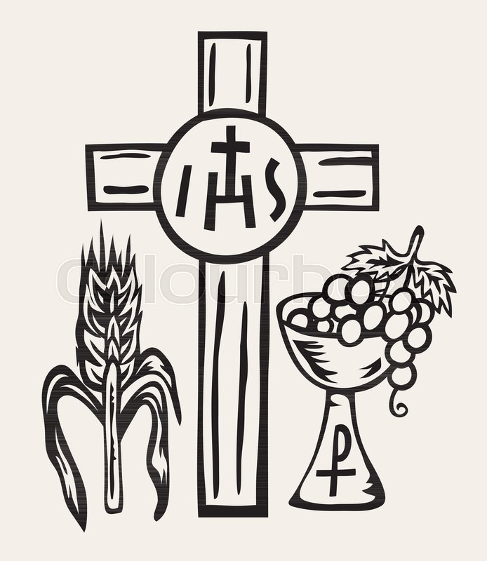 Ihs Symbol Body And Blood Of Jesus Christ Art Vector Design Stock