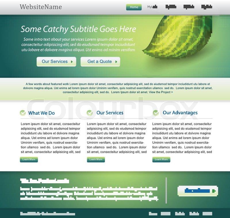 Grün Website Natur -Vorlage | Vektorgrafik | Colourbox
